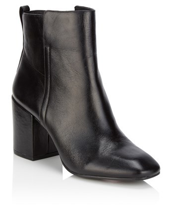 High Heel Leather Ankle Boots - predominant colour: black; occasions: casual; material: leather; heel height: high; heel: block; toe: round toe; boot length: ankle boot; style: standard; finish: plain; pattern: plain; season: a/w 2016; wardrobe: highlight