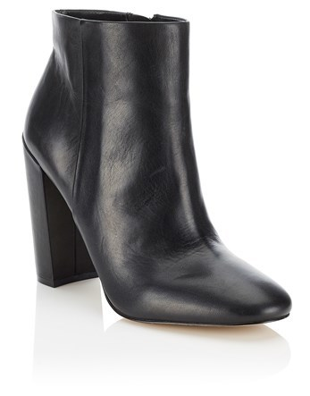 High Block Heel Leather Ankle Boots - predominant colour: black; occasions: casual; material: leather; heel height: high; heel: block; toe: round toe; boot length: ankle boot; style: standard; finish: plain; pattern: plain; season: a/w 2016; wardrobe: highlight