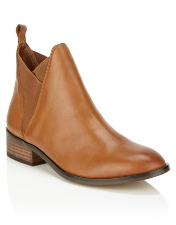 Flat Leather Ankle Boots - predominant colour: camel; occasions: casual; material: leather; heel height: flat; heel: block; toe: round toe; boot length: ankle boot; style: standard; finish: plain; pattern: plain; wardrobe: basic; season: a/w 2016