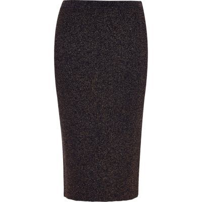 Womens Navy Sparkly Stretch Pencil Skirt - length: below the knee; pattern: plain; style: pencil; fit: tight; waist: mid/regular rise; predominant colour: navy; occasions: work, creative work; fibres: polyester/polyamide - stretch; texture group: jersey - clingy; pattern type: fabric; wardrobe: basic; season: a/w 2016