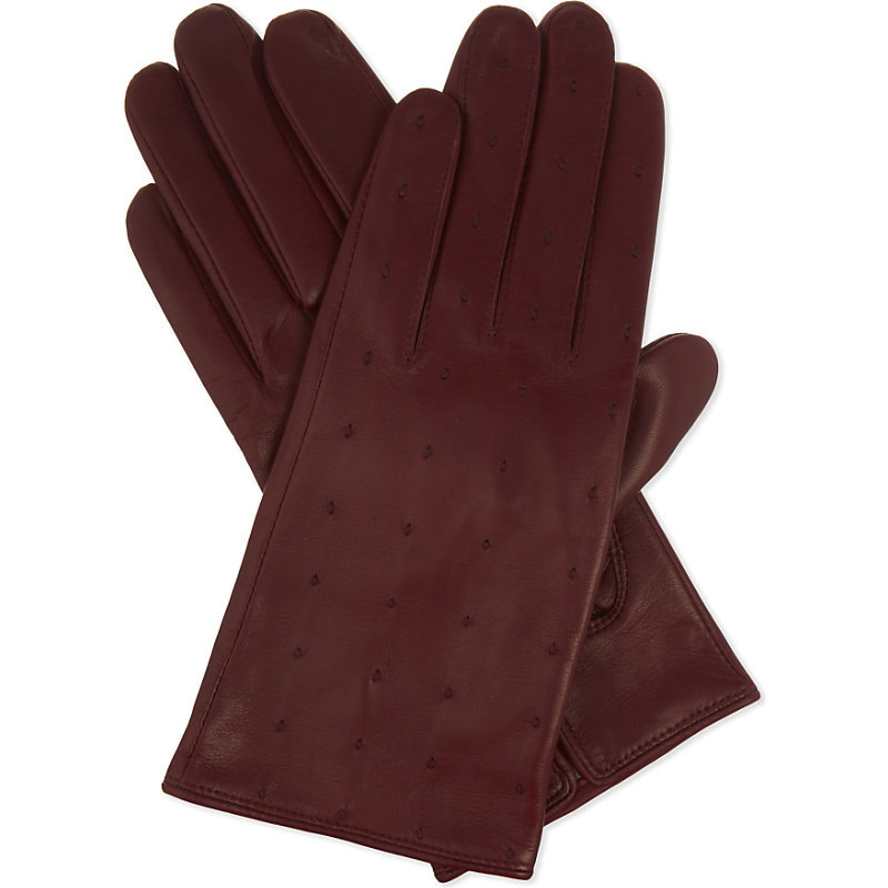 Garance Leather Gloves, Women's, Size: Medium, Red - predominant colour: burgundy; occasions: casual, work, creative work; type of pattern: standard; style: standard; length: wrist; material: leather; pattern: plain; season: a/w 2016; wardrobe: highlight