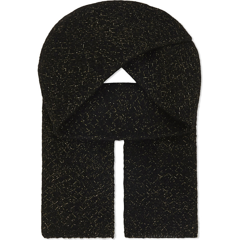 Elena Scarf, Women's, Noir - predominant colour: black; occasions: casual, creative work; type of pattern: standard; style: regular; size: standard; material: knits; pattern: plain; wardrobe: basic; season: a/w 2016