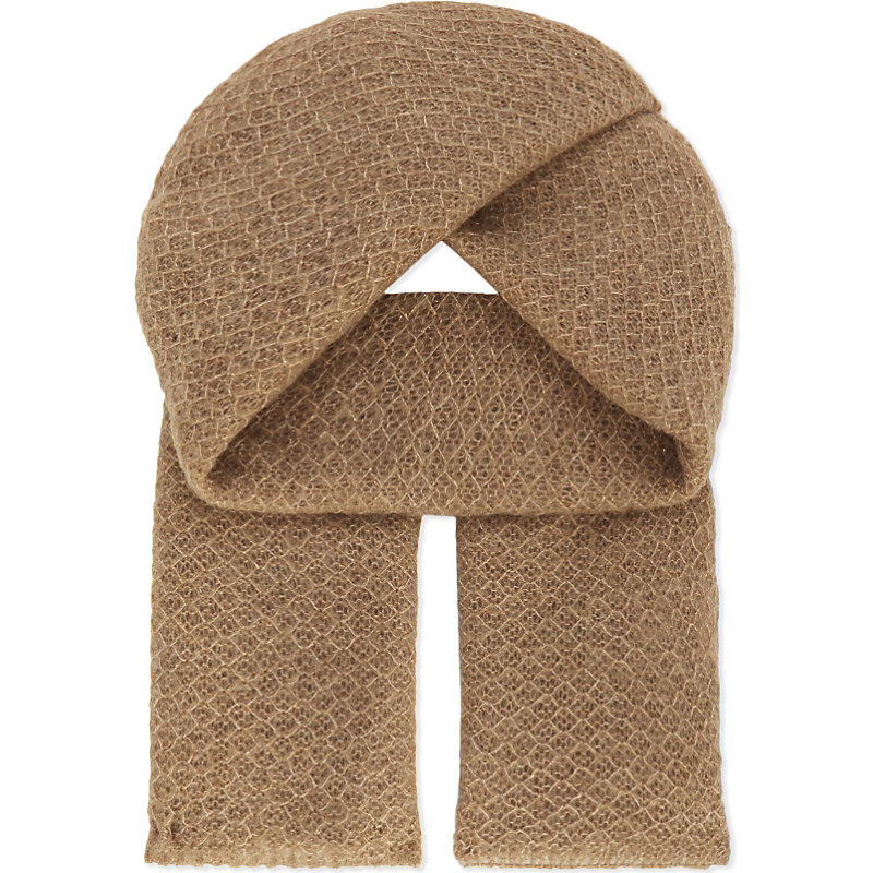 Elena Scarf, Women's, Camel - predominant colour: camel; occasions: casual, creative work; type of pattern: standard; style: regular; size: standard; material: knits; pattern: plain; wardrobe: basic; season: a/w 2016