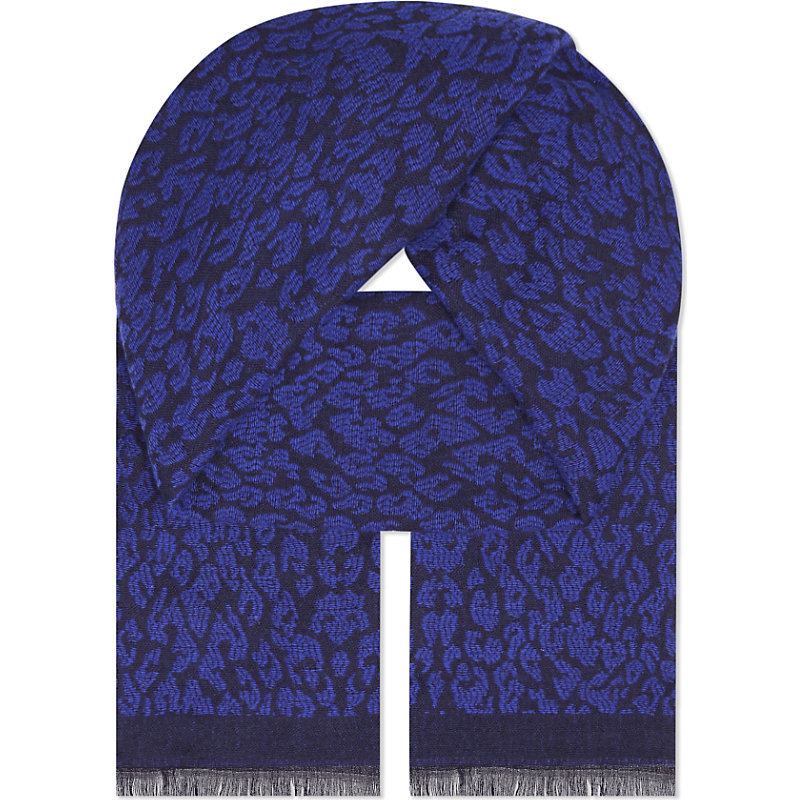 Epopee Leopard Print Scarf, Women's, Bleu - predominant colour: royal blue; secondary colour: navy; occasions: casual, creative work; type of pattern: standard; style: regular; size: standard; material: fabric; embellishment: fringing; pattern: animal print; season: a/w 2016; wardrobe: highlight