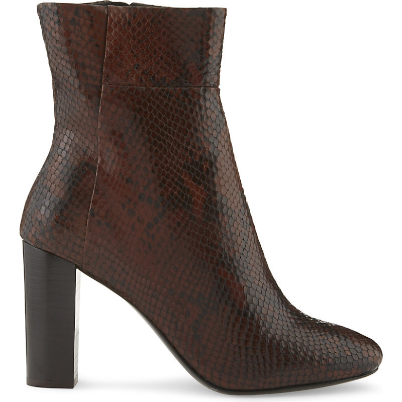 Andes Bis Leather Heeled Ankle Boots, Women's, Eur 38 / 5 Uk Women, Marron - predominant colour: aubergine; occasions: casual, creative work; material: leather; heel: block; toe: round toe; boot length: ankle boot; style: standard; finish: plain; pattern: plain; heel height: very high; season: a/w 2016; wardrobe: highlight