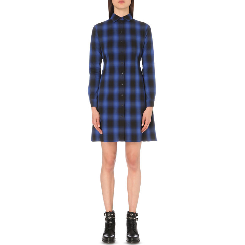 Rulyl Checked Shirt Dress, Women's, Size: Large, Electric Blue - style: shirt; length: mid thigh; neckline: shirt collar/peter pan/zip with opening; pattern: checked/gingham; predominant colour: royal blue; secondary colour: black; occasions: casual; fit: fitted at waist & bust; fibres: cotton - 100%; sleeve length: long sleeve; sleeve style: standard; texture group: cotton feel fabrics; pattern type: fabric; season: a/w 2016; wardrobe: highlight