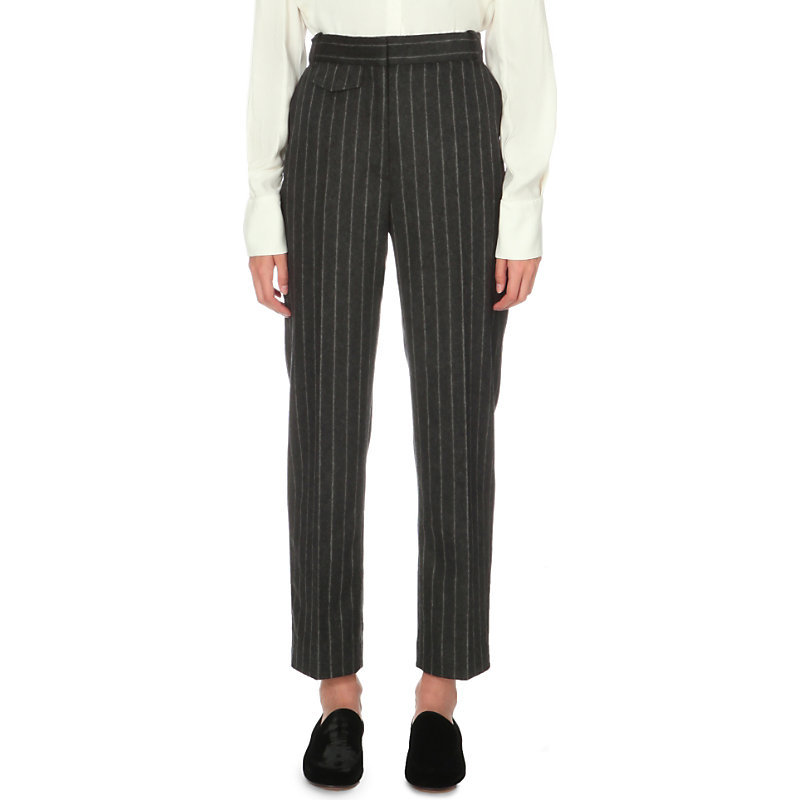 Melody Tapered High Rise Wool Blend Trousers, Women's, Light Gray/Dark Blue/Light Blue - pattern: pinstripe; waist: mid/regular rise; secondary colour: mid grey; predominant colour: black; occasions: work, creative work; length: ankle length; fibres: wool - mix; fit: straight leg; pattern type: fabric; texture group: woven light midweight; style: standard; pattern size: standard (bottom); season: a/w 2016; wardrobe: highlight