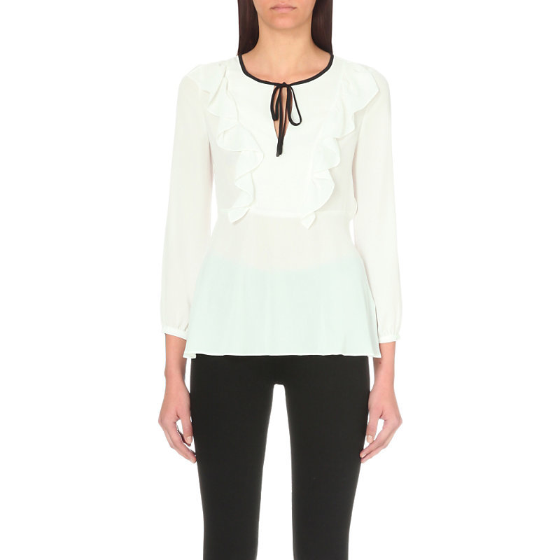 Bounty Frilled Crepe Top, Women's, White - neckline: round neck; style: blouse; predominant colour: white; secondary colour: black; occasions: casual; length: standard; fibres: polyester/polyamide - 100%; fit: body skimming; sleeve length: long sleeve; sleeve style: standard; texture group: crepes; pattern type: fabric; pattern size: light/subtle; pattern: colourblock; season: a/w 2016; wardrobe: highlight