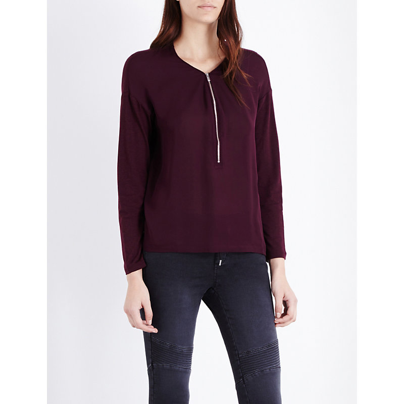 Zip Detail Silk T Shirt, Women's, Size: Small, Bur - neckline: v-neck; pattern: plain; style: shirt; predominant colour: aubergine; occasions: casual, work, creative work; length: standard; fibres: silk - mix; fit: body skimming; sleeve length: long sleeve; sleeve style: standard; texture group: silky - light; pattern type: fabric; season: a/w 2016; wardrobe: highlight