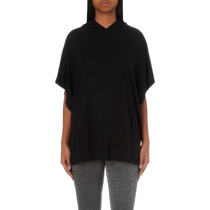 Sweatshirt Inspired Cotton Jersey T Shirt, Women's, Size: Small, Black - neckline: v-neck; pattern: plain; length: below the bottom; predominant colour: black; occasions: casual, creative work; style: top; fibres: cotton - 100%; fit: loose; sleeve length: short sleeve; sleeve style: standard; pattern type: fabric; pattern size: standard; texture group: other - light to midweight; wardrobe: basic; season: a/w 2016