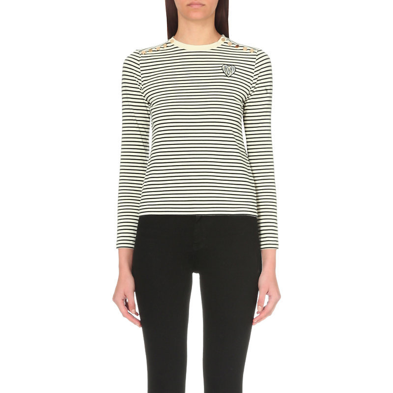 Breton Stripe Cotton T Shirt, Women's, Size: Large, Two Tone - neckline: round neck; pattern: horizontal stripes; style: t-shirt; predominant colour: black; occasions: casual, creative work; length: standard; fibres: cotton - 100%; fit: body skimming; sleeve length: long sleeve; sleeve style: standard; pattern type: fabric; texture group: jersey - stretchy/drapey; pattern size: big & busy (top); wardrobe: basic; season: a/w 2016