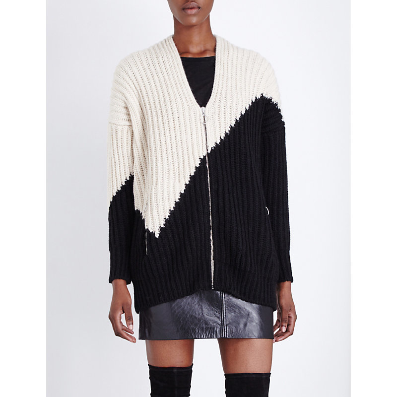 Maelis Knitted Cardigan, Women's, Two Tone - neckline: v-neck; predominant colour: black; occasions: casual, creative work; length: standard; style: standard; fibres: acrylic - mix; fit: loose; sleeve length: long sleeve; sleeve style: standard; texture group: knits/crochet; pattern type: knitted - other; pattern size: standard; pattern: colourblock; season: a/w 2016; wardrobe: highlight