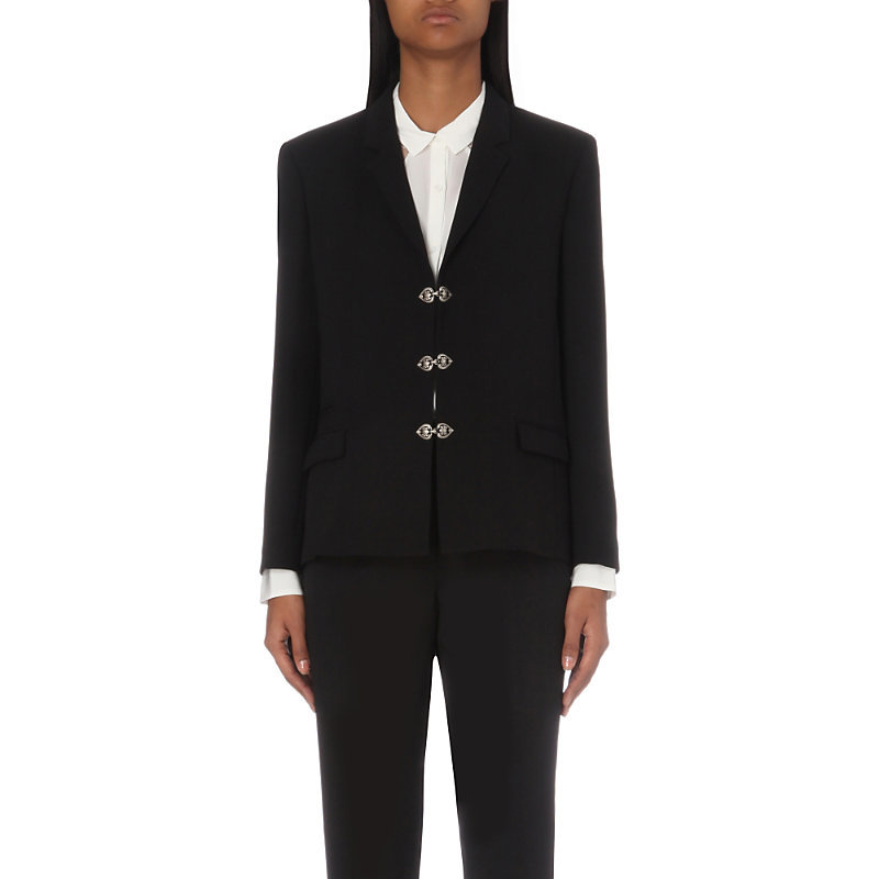 Tailored Woven Jacket, Women's, Black - pattern: plain; style: single breasted blazer; collar: standard lapel/rever collar; predominant colour: black; length: standard; fit: tailored/fitted; fibres: wool - mix; occasions: occasion, creative work; sleeve length: long sleeve; sleeve style: standard; texture group: crepes; collar break: medium; pattern type: fabric; season: a/w 2016