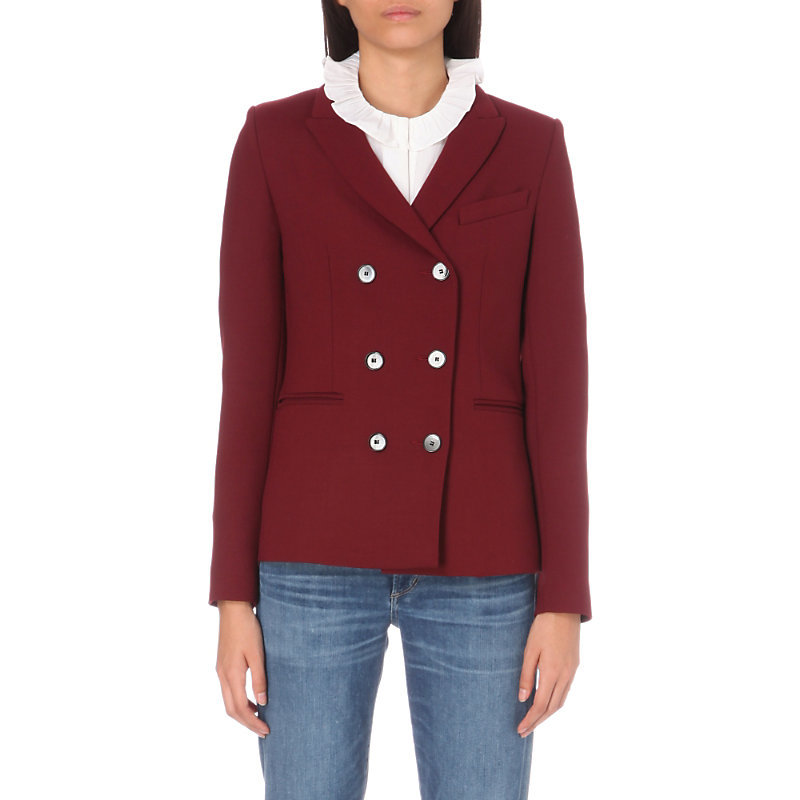 Gaudi Stretch Woven Jacket, Women's, Red - pattern: plain; style: double breasted blazer; collar: standard lapel/rever collar; predominant colour: burgundy; length: standard; fit: tailored/fitted; fibres: cotton - mix; sleeve length: long sleeve; sleeve style: standard; collar break: medium; pattern type: fabric; texture group: other - light to midweight; occasions: creative work; wardrobe: investment; season: a/w 2016