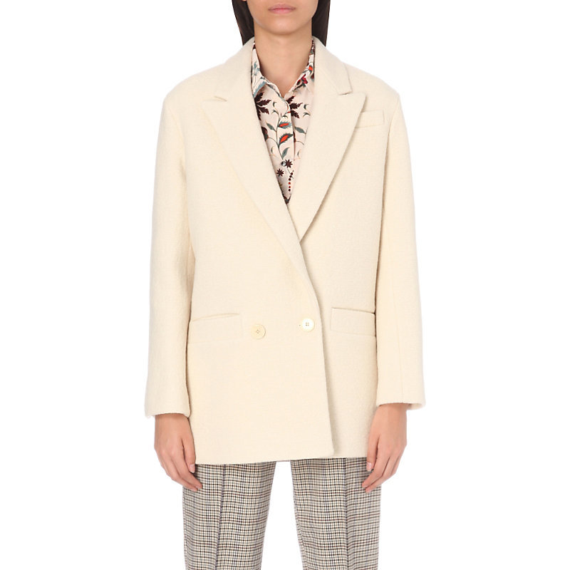 Pilou Cotton And Wool Blend Jacket, Women's, White - pattern: plain; style: single breasted blazer; length: below the bottom; collar: standard lapel/rever collar; predominant colour: ivory/cream; occasions: work, creative work; fit: straight cut (boxy); fibres: cotton - mix; sleeve length: long sleeve; sleeve style: standard; collar break: low/open; pattern type: fabric; pattern size: standard; texture group: woven light midweight; wardrobe: investment; season: a/w 2016