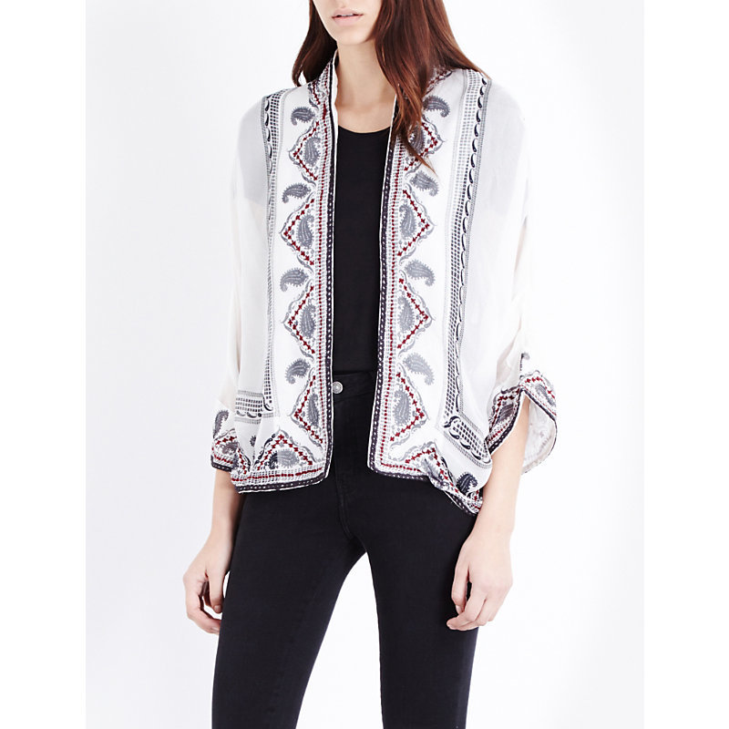 Paisley Print Silk Jacket, Women's, White/Red - sleeve style: dolman/batwing; collar: round collar/collarless; fit: loose; pattern: paisley; predominant colour: ivory/cream; secondary colour: mid grey; occasions: casual, creative work; length: standard; fibres: silk - 100%; sleeve length: 3/4 length; texture group: sheer fabrics/chiffon/organza etc.; collar break: low/open; pattern type: fabric; pattern size: standard; embellishment: embroidered; style: fluid/kimono; season: a/w 2016; wardrobe: highlight; embellishment location: all over