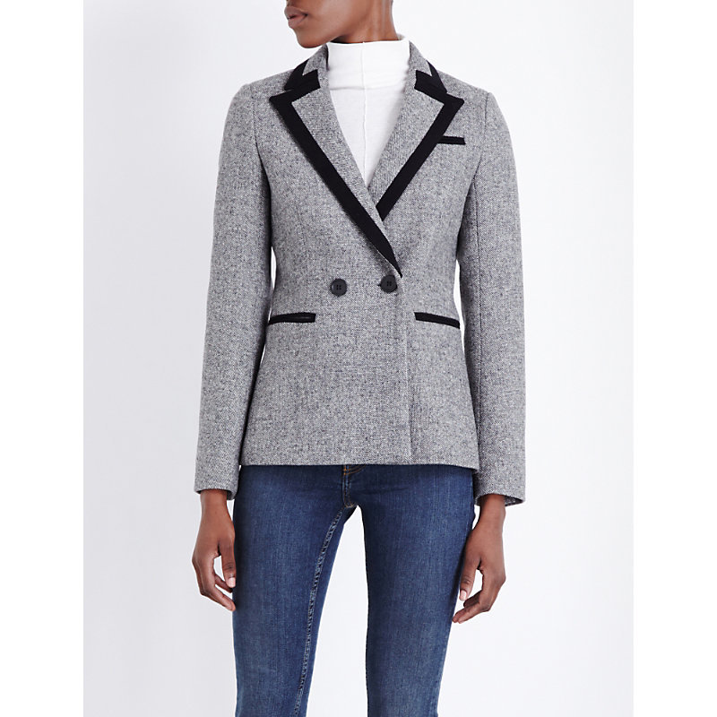 Vassi Wool Blend Jacket, Women's, Grey - style: double breasted blazer; collar: standard lapel/rever collar; pattern: herringbone/tweed; predominant colour: mid grey; secondary colour: black; length: standard; fit: tailored/fitted; fibres: wool - mix; sleeve length: long sleeve; sleeve style: standard; collar break: medium; pattern type: fabric; pattern size: standard; texture group: tweed - light/midweight; occasions: creative work; wardrobe: investment; season: a/w 2016