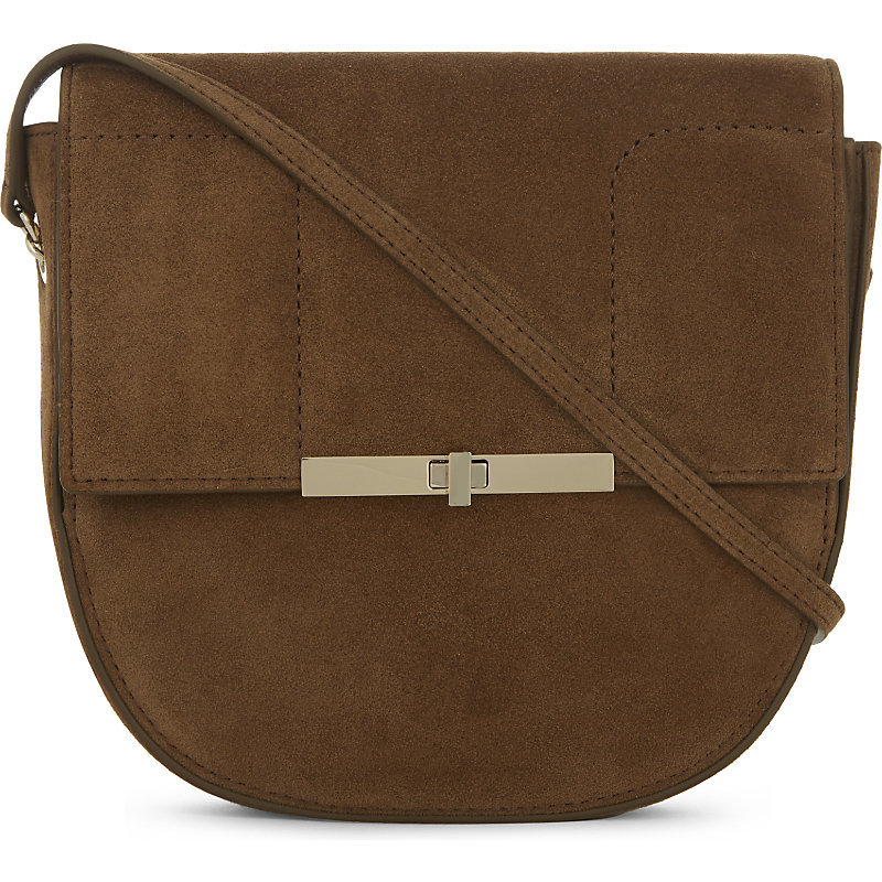 Alias Bis Suede Saddle Bag, Women's, Camel - predominant colour: chocolate brown; occasions: casual, creative work; type of pattern: standard; style: saddle; length: across body/long; size: standard; material: suede; pattern: plain; finish: plain; wardrobe: basic; season: a/w 2016