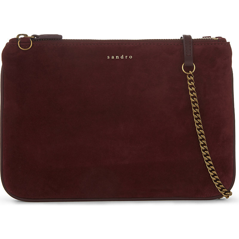 Addict Suede Cross Body Bag, Women's, Red - predominant colour: burgundy; occasions: casual, creative work; type of pattern: standard; style: messenger; length: across body/long; size: standard; material: suede; pattern: plain; finish: plain; embellishment: chain/metal; season: a/w 2016; wardrobe: highlight