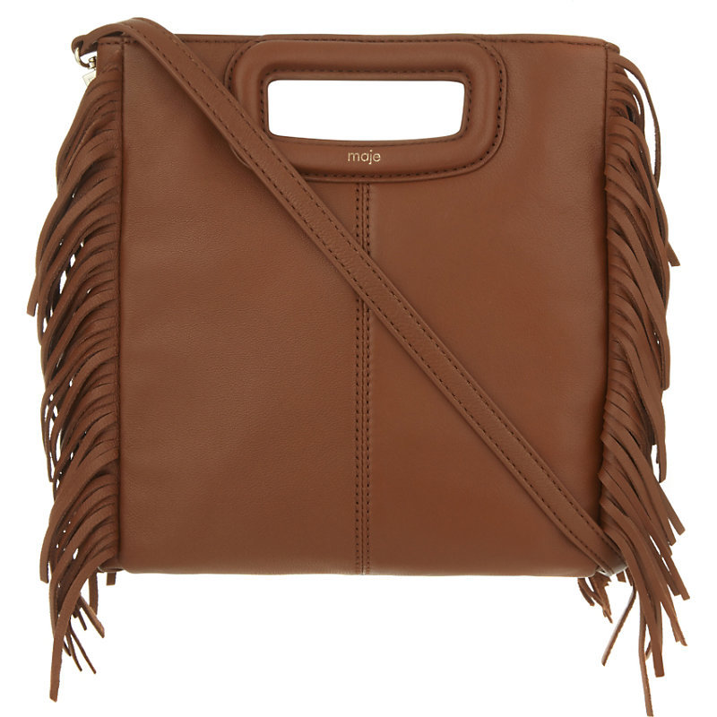 The M Leather Cross Body Bag, Women's, Size: Medium, Camel - predominant colour: camel; occasions: casual, creative work; type of pattern: standard; style: messenger; length: across body/long; size: small; material: leather; embellishment: fringing; pattern: plain; finish: plain; season: a/w 2016; wardrobe: highlight