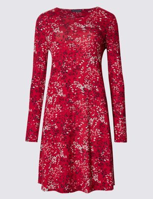 Floral Print Swing Dress - style: tunic; secondary colour: white; predominant colour: true red; occasions: casual; length: just above the knee; fit: soft a-line; fibres: viscose/rayon - stretch; neckline: crew; sleeve length: long sleeve; sleeve style: standard; texture group: cotton feel fabrics; pattern type: fabric; pattern: florals; multicoloured: multicoloured; season: a/w 2016; wardrobe: highlight