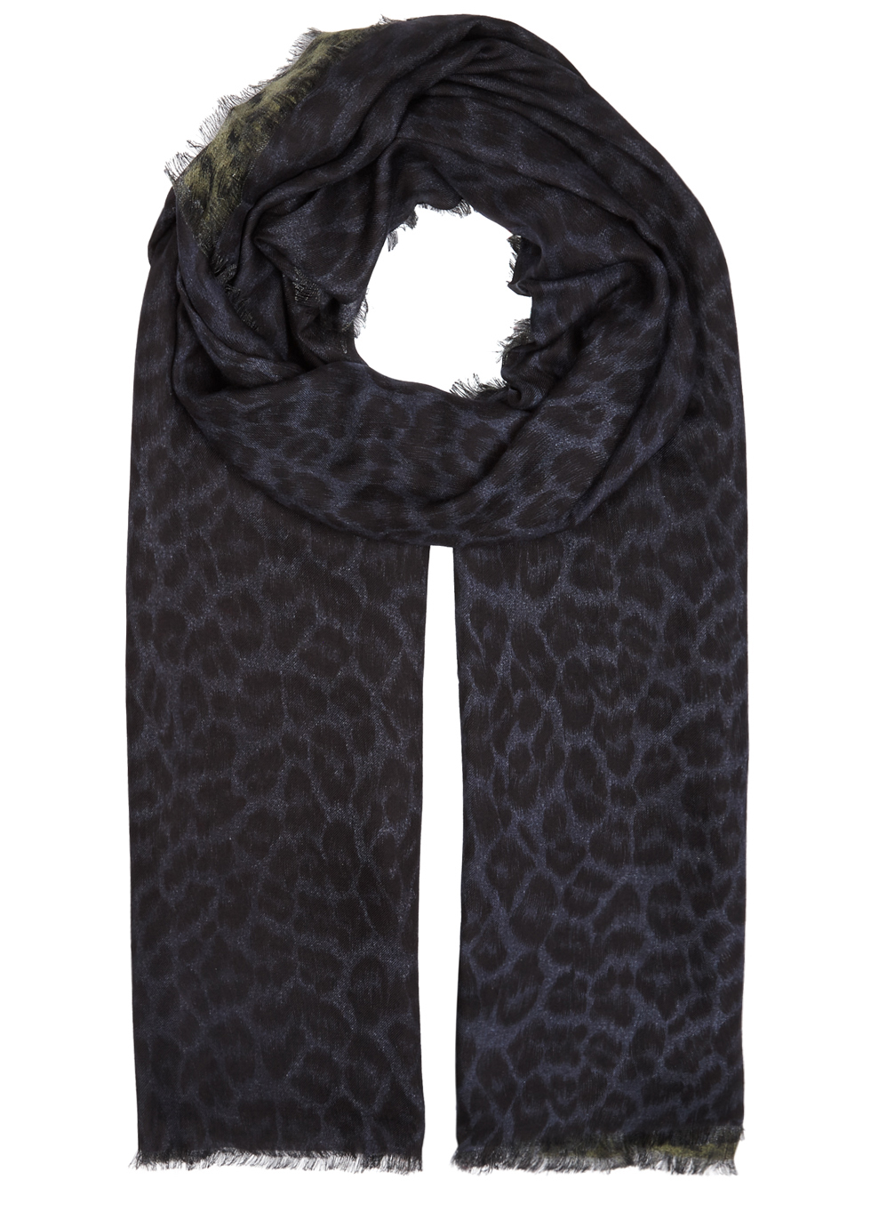 Florence Navy And Green Leopard Print Scarf - predominant colour: navy; occasions: casual; type of pattern: heavy; style: regular; size: standard; material: fabric; pattern: animal print; season: a/w 2016; wardrobe: highlight