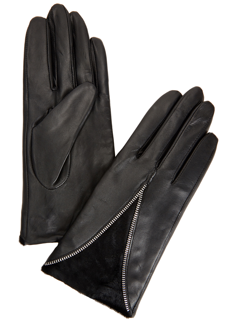 Layla Black Leather And Calf Hair Gloves - predominant colour: black; occasions: casual, creative work; type of pattern: standard; style: standard; length: wrist; material: leather; pattern: plain; season: a/w 2016