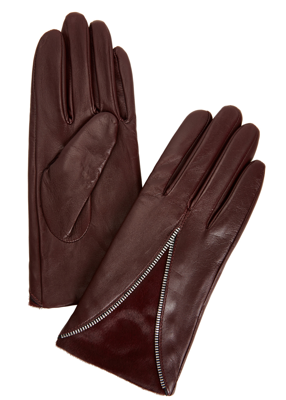 Layla Burgundy Leather And Calf Hair Gloves - predominant colour: burgundy; occasions: casual, creative work; type of pattern: standard; embellishment: zips; style: standard; length: wrist; material: leather; pattern: plain; season: a/w 2016; wardrobe: highlight