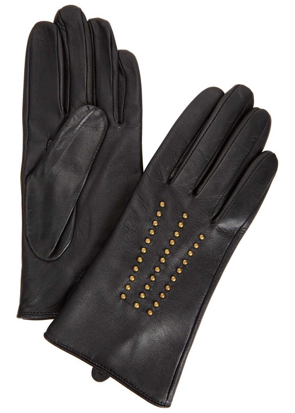 Marie Studded Leather Gloves - predominant colour: black; occasions: casual, creative work; type of pattern: standard; embellishment: studs; style: standard; length: wrist; material: leather; pattern: plain; season: a/w 2016; wardrobe: highlight