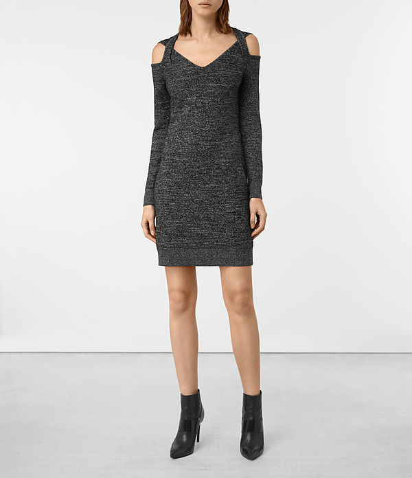 Neri Twist Dress - neckline: v-neck; fit: tight; pattern: plain; style: bodycon; predominant colour: charcoal; occasions: evening; length: just above the knee; fibres: wool - mix; shoulder detail: cut out shoulder; sleeve length: long sleeve; sleeve style: standard; texture group: knits/crochet; pattern type: knitted - fine stitch; season: a/w 2016; wardrobe: event
