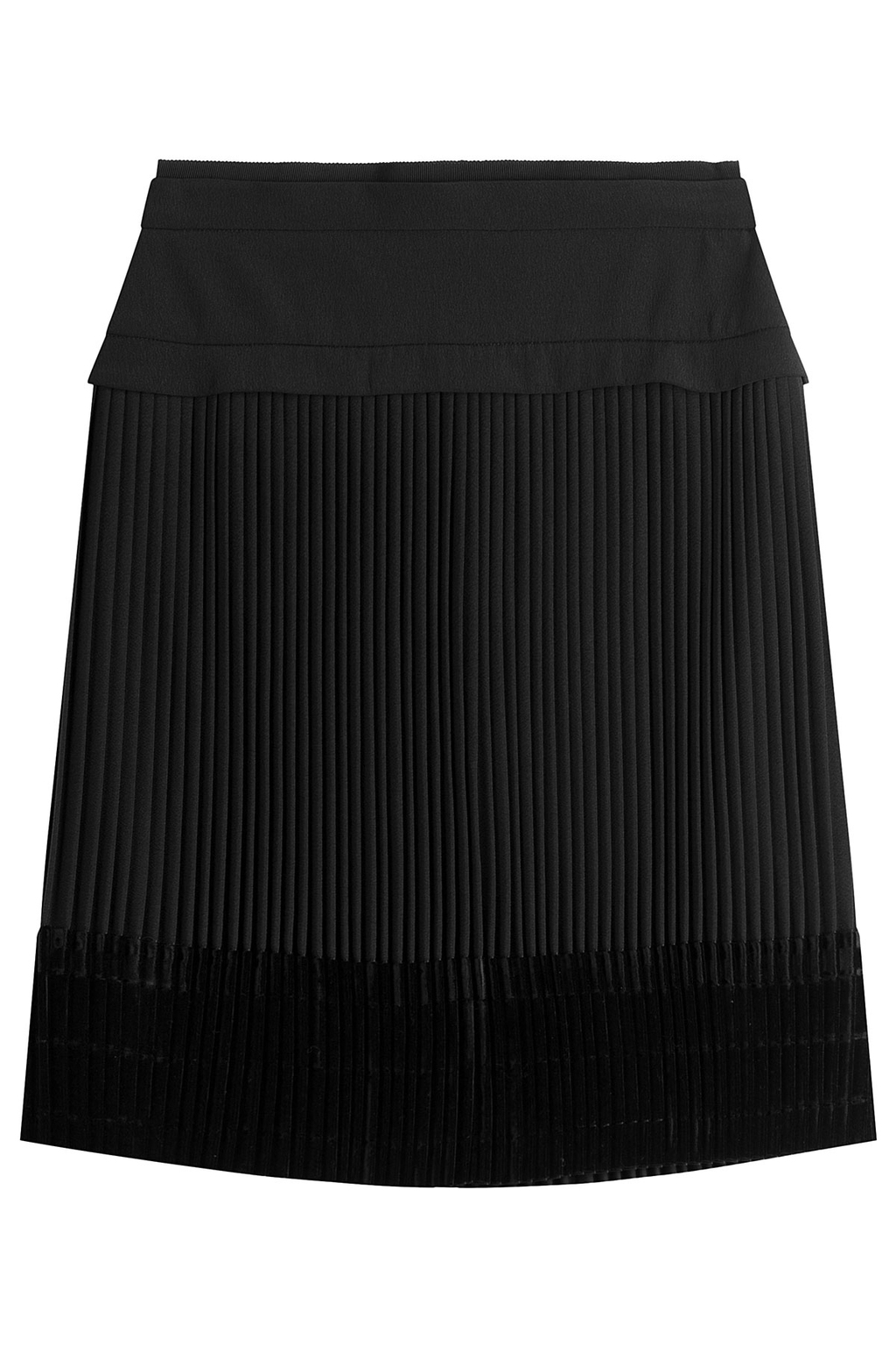 Pleated Skirt With Velvet - pattern: plain; fit: loose/voluminous; waist: mid/regular rise; predominant colour: black; occasions: casual, work, creative work; length: just above the knee; style: a-line; fibres: polyester/polyamide - 100%; pattern type: fabric; texture group: velvet/fabrics with pile; season: a/w 2016; wardrobe: highlight