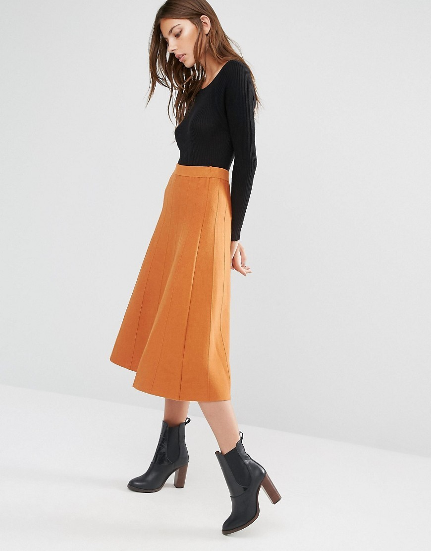 Fit And Flare Knitted Skirt Orange - length: calf length; pattern: plain; fit: loose/voluminous; waist: high rise; predominant colour: bright orange; occasions: casual, creative work; style: a-line; fibres: polyester/polyamide - 100%; waist detail: narrow waistband; texture group: knits/crochet; pattern type: knitted - other; season: a/w 2016