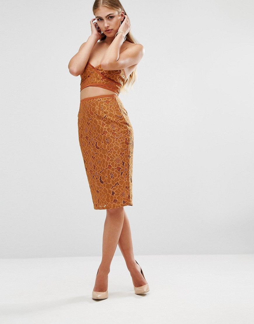 Floral Embroidered Midi Skirt Rust - length: below the knee; pattern: plain; style: pencil; fit: tailored/fitted; waist: high rise; predominant colour: tan; fibres: polyester/polyamide - mix; occasions: occasion; pattern type: fabric; texture group: woven light midweight; embellishment: embroidered; season: a/w 2016; wardrobe: event