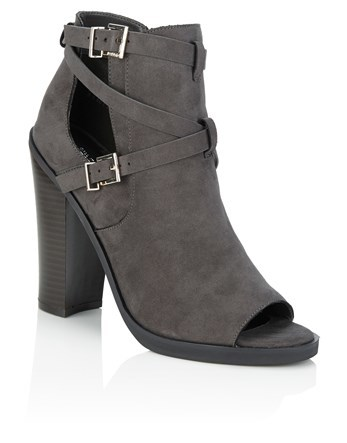 Buckle Detail Peep Toe Boots - predominant colour: charcoal; occasions: casual; material: faux leather; heel height: high; embellishment: buckles; heel: block; toe: open toe/peeptoe; boot length: ankle boot; style: standard; finish: plain; pattern: plain; season: a/w 2016; wardrobe: highlight