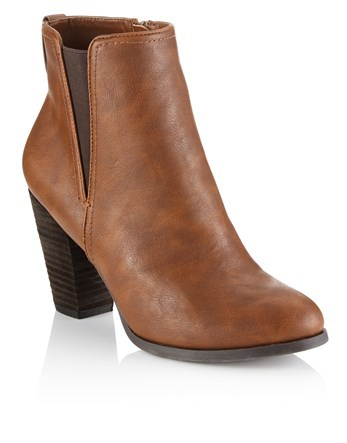 High Heel Ankle Boots - predominant colour: tan; occasions: casual; material: faux leather; heel height: mid; heel: block; toe: round toe; boot length: ankle boot; style: standard; finish: plain; pattern: plain; season: a/w 2016; wardrobe: highlight