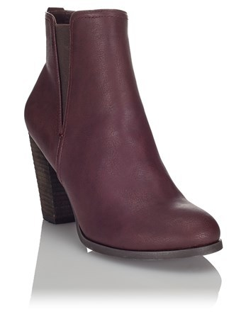 High Heel Ankle Boots - predominant colour: burgundy; occasions: casual; material: faux leather; heel height: high; embellishment: elasticated; heel: block; toe: round toe; boot length: ankle boot; style: standard; finish: plain; pattern: plain; season: a/w 2016; wardrobe: highlight