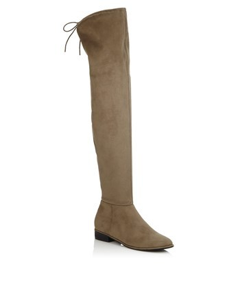 Stretch Over The Knee Boots - predominant colour: nude; occasions: casual; material: suede; heel height: flat; heel: standard; toe: round toe; boot length: over the knee; style: standard; finish: plain; pattern: plain; wardrobe: investment; season: a/w 2016