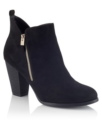 Side Zip Boots - predominant colour: black; occasions: casual; heel height: mid; heel: block; toe: round toe; boot length: ankle boot; style: standard; finish: plain; pattern: plain; material: faux suede; wardrobe: basic; season: a/w 2016