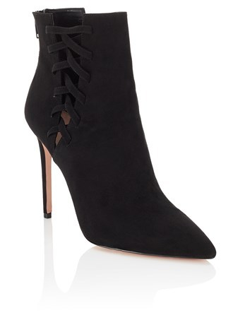 High Heel Pointy Toe Ankle Boots - predominant colour: black; occasions: casual; material: suede; heel height: high; heel: stiletto; toe: pointed toe; boot length: ankle boot; style: standard; finish: plain; pattern: plain; season: a/w 2016; wardrobe: highlight