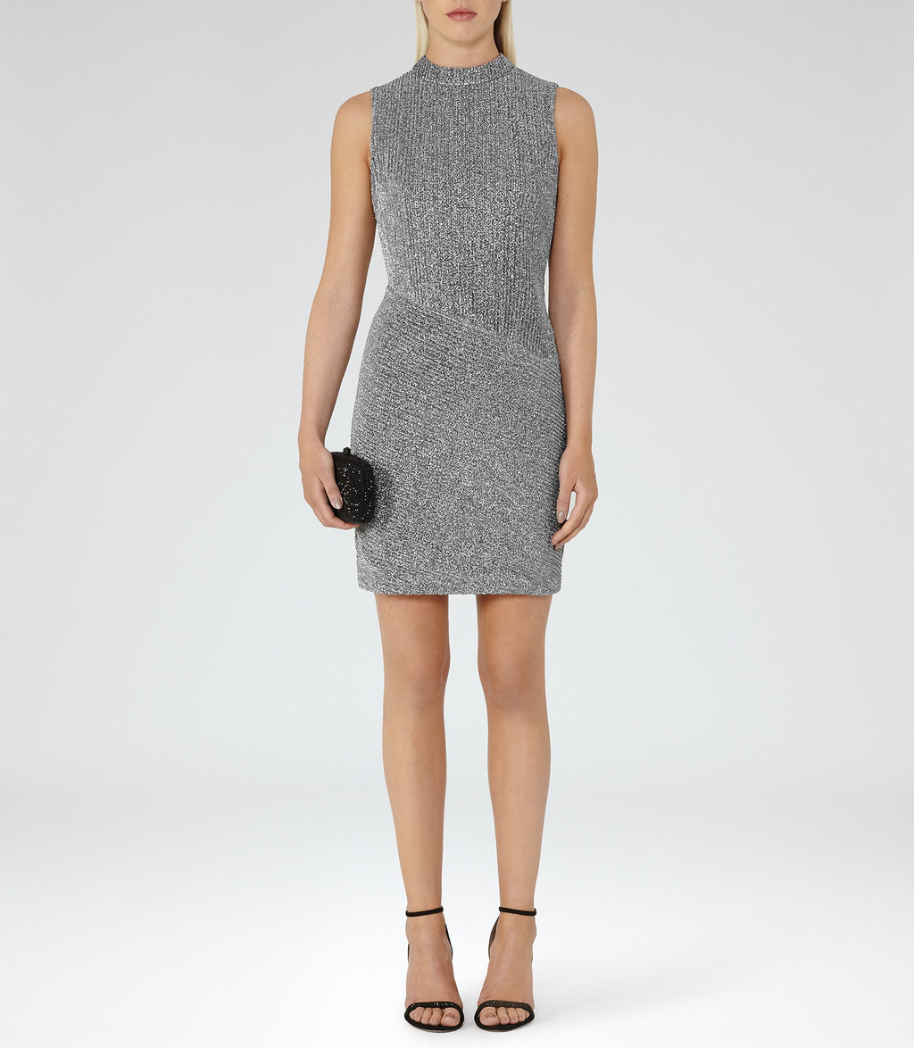Sharon Womens Metallic Bodycon Dress In Grey - fit: tight; pattern: plain; sleeve style: sleeveless; neckline: high neck; style: bodycon; predominant colour: mid grey; occasions: evening; length: just above the knee; fibres: polyester/polyamide - stretch; sleeve length: sleeveless; texture group: jersey - clingy; pattern type: fabric; season: a/w 2016; wardrobe: event