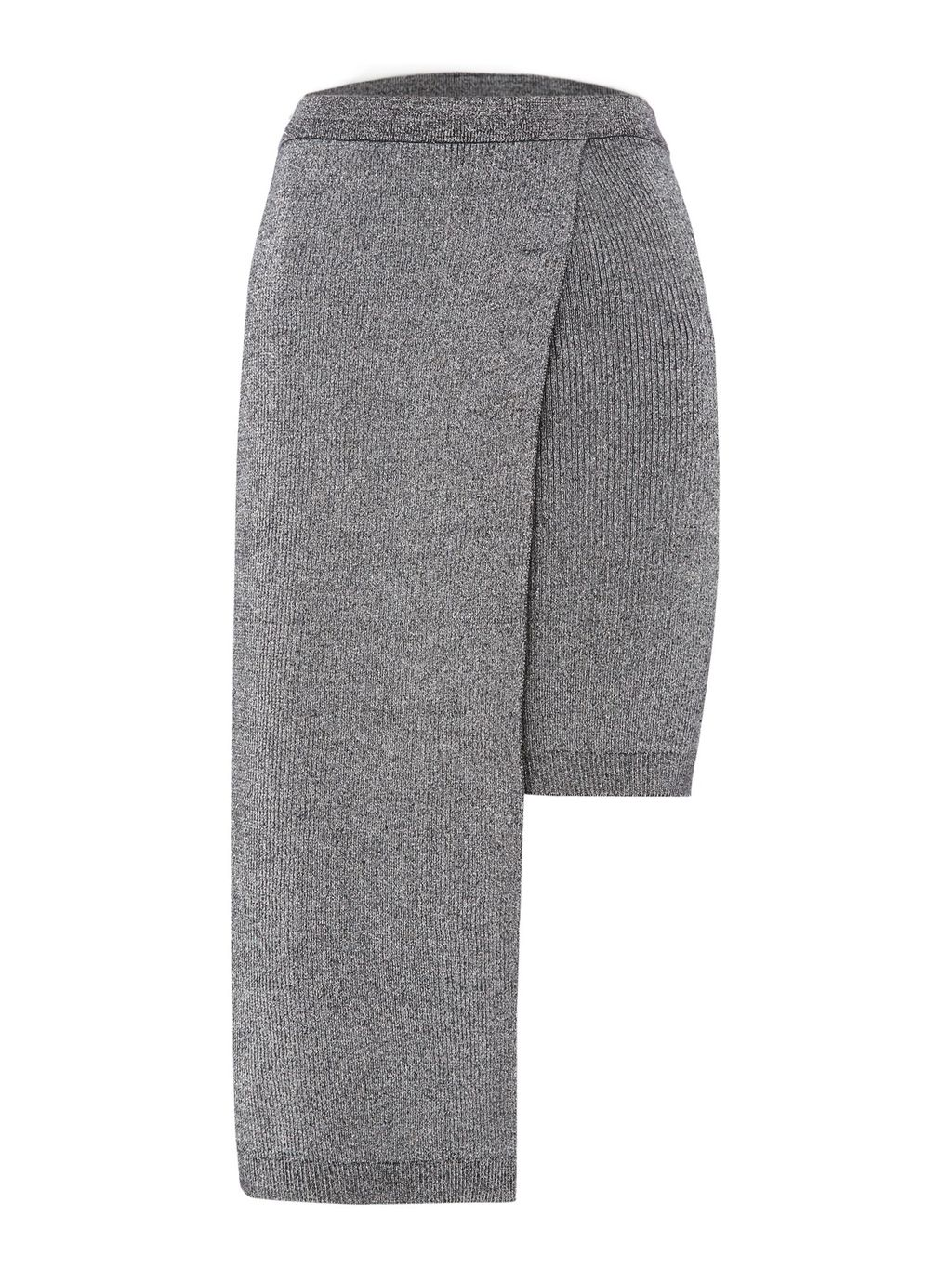 Midi Bodycon Skirt, Silver - pattern: plain; fit: tight; waist: high rise; predominant colour: silver; occasions: evening, creative work; length: just above the knee; style: asymmetric (hem); pattern type: fabric; texture group: woven light midweight; fibres: viscose/rayon - mix; season: a/w 2016; wardrobe: highlight