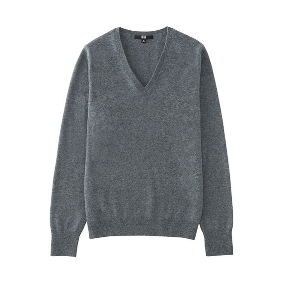 Women 100% Cashmere V Neck Sweater Gray - neckline: v-neck; pattern: plain; style: standard; predominant colour: charcoal; occasions: casual, work, creative work; length: standard; fit: standard fit; fibres: cashmere - 100%; sleeve length: long sleeve; sleeve style: standard; texture group: knits/crochet; pattern type: knitted - other; wardrobe: investment; season: a/w 2016