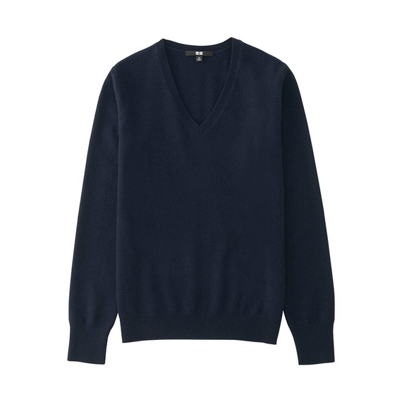 Women 100% Cashmere V Neck Sweater Navy - neckline: v-neck; pattern: plain; style: standard; predominant colour: navy; occasions: casual, work, creative work; length: standard; fit: standard fit; fibres: cashmere - 100%; sleeve length: long sleeve; sleeve style: standard; texture group: knits/crochet; pattern type: knitted - fine stitch; wardrobe: investment; season: a/w 2016