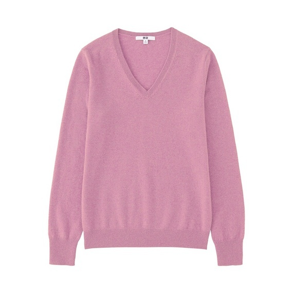 Women 100% Cashmere V Neck Sweater Purple - neckline: v-neck; pattern: plain; style: standard; predominant colour: blush; occasions: casual; length: standard; fit: standard fit; fibres: cashmere - 100%; sleeve length: long sleeve; sleeve style: standard; texture group: knits/crochet; pattern type: knitted - fine stitch; wardrobe: investment; season: a/w 2016