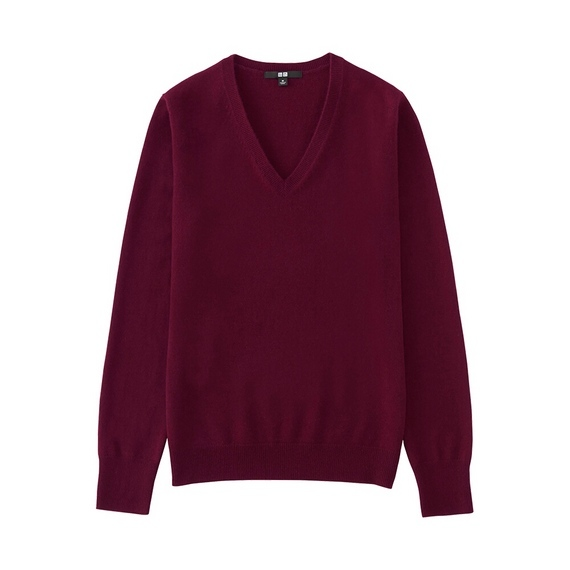 Women 100% Cashmere V Neck Sweater Wine - neckline: v-neck; pattern: plain; style: standard; predominant colour: burgundy; occasions: casual; length: standard; fit: standard fit; fibres: cashmere - 100%; sleeve length: long sleeve; sleeve style: standard; texture group: knits/crochet; pattern type: knitted - fine stitch; season: a/w 2016; wardrobe: highlight
