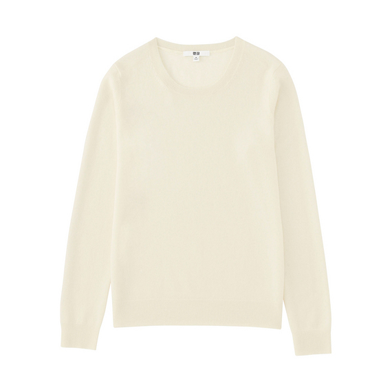 Women 100% Cashmere Crew Neck Sweater Off White - neckline: round neck; pattern: plain; style: standard; predominant colour: ivory/cream; occasions: casual, work, creative work; length: standard; fit: standard fit; fibres: cashmere - 100%; sleeve length: long sleeve; sleeve style: standard; texture group: knits/crochet; pattern type: knitted - fine stitch; wardrobe: investment; season: a/w 2016