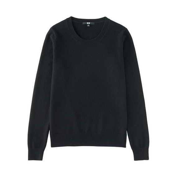 Women 100% Cashmere Crew Neck Sweater Black - pattern: plain; style: standard; predominant colour: black; occasions: casual; length: standard; fit: standard fit; neckline: crew; fibres: cashmere - 100%; sleeve length: long sleeve; sleeve style: standard; texture group: knits/crochet; pattern type: knitted - fine stitch; season: a/w 2016