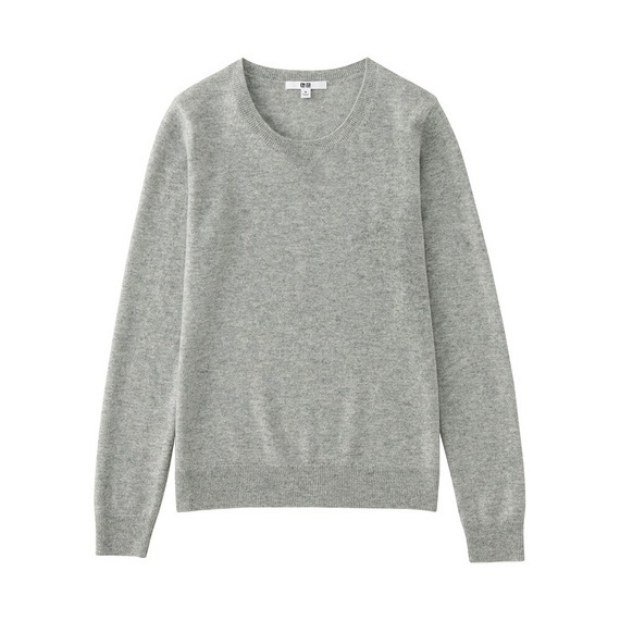 Women 100% Cashmere Crew Neck Sweater Light Gray - pattern: plain; style: standard; predominant colour: light grey; occasions: casual; length: standard; fit: standard fit; neckline: crew; fibres: cashmere - 100%; sleeve length: long sleeve; sleeve style: standard; texture group: knits/crochet; pattern type: knitted - fine stitch; wardrobe: investment; season: a/w 2016