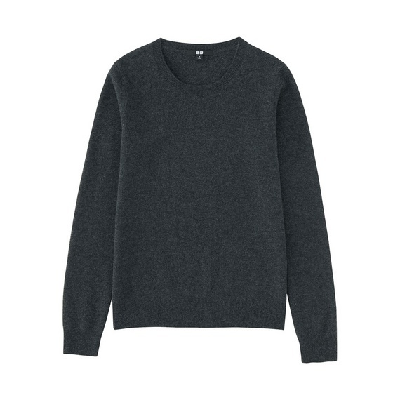 Women 100% Cashmere Crew Neck Sweater Dark Gray - pattern: plain; style: standard; predominant colour: charcoal; occasions: casual; length: standard; fit: standard fit; neckline: crew; fibres: cashmere - 100%; sleeve length: long sleeve; sleeve style: standard; texture group: knits/crochet; pattern type: knitted - fine stitch; wardrobe: investment; season: a/w 2016