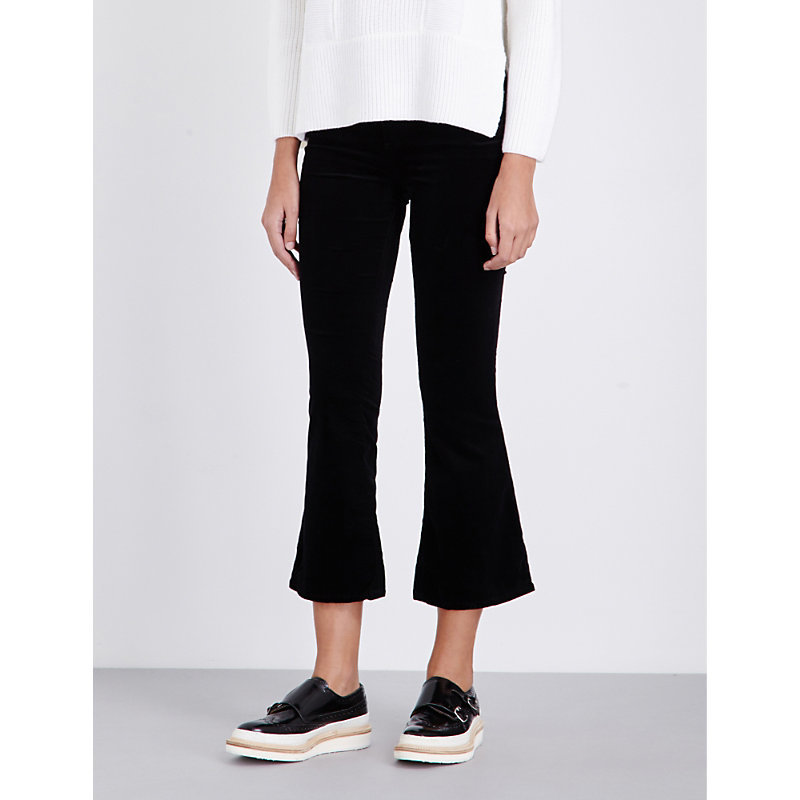 Velvet Crop Slim Fit Jeans, Women's, Blk Velvet - style: flares; waist: mid/regular rise; predominant colour: black; occasions: casual, creative work; length: ankle length; fibres: cotton - stretch; pattern type: fabric; pattern: florals; texture group: velvet/fabrics with pile; season: a/w 2016; wardrobe: highlight; trends: velvet